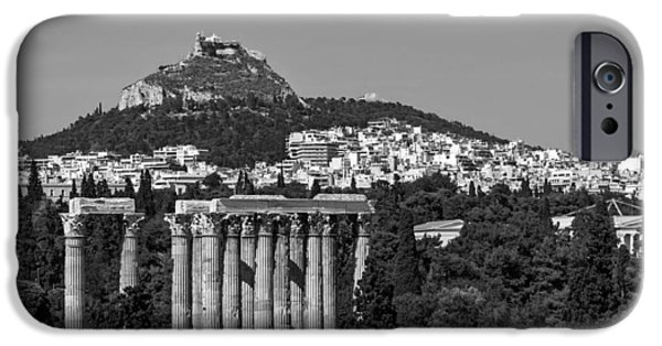 Athens Ruins iPhone Cases - Temple Of Zeus To Mount Lycabettus iPhone Case by Jebulon