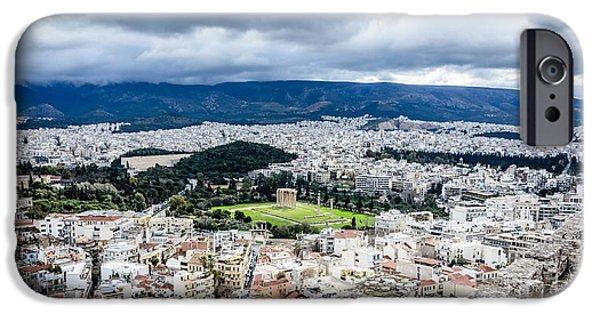 Zeus iPhone Cases - Temple of Zeus - View from the Acropolis iPhone Case by Debra Martz