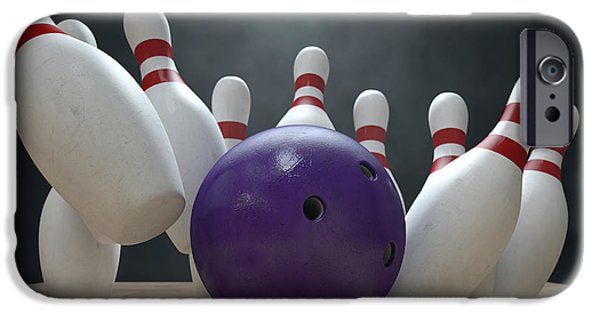 Alley iPhone Cases - Ten Pin Bowling Pins And Ball iPhone Case by Allan Swart