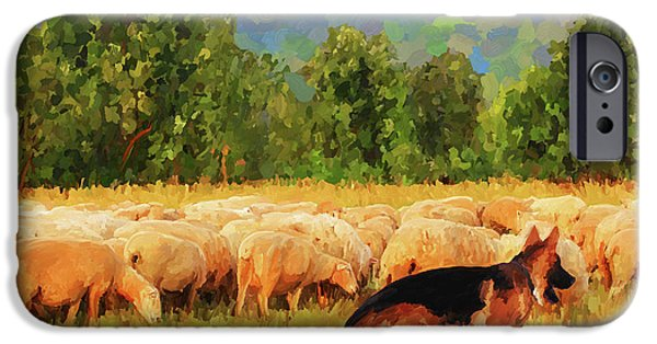 Recently Sold -  - Dog In Landscape iPhone Cases - Tending the Flock iPhone Case by Jai Johnson