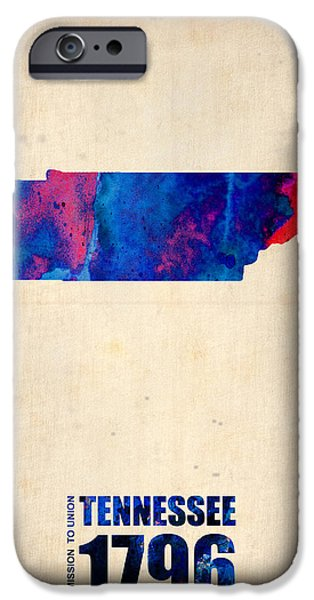 Us States iPhone Cases - Tennessee Watercolor Map iPhone Case by Naxart Studio
