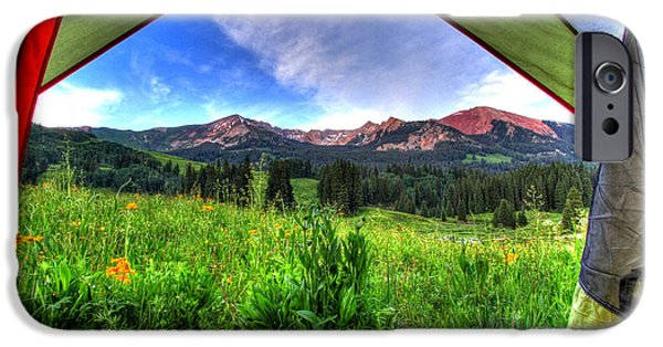 Fort Collins Photographs iPhone Cases - Tent View iPhone Case by Scott Mahon
