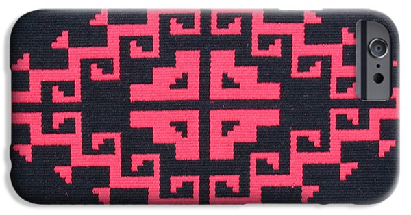 Graphic Design Tapestries - Textiles iPhone Cases - Teotehuacan Black rug iPhone Case by Judy Hilbish