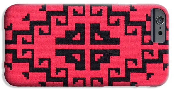 Graphic Design Tapestries - Textiles iPhone Cases - Teotehuacan Red rug iPhone Case by Judy Hilbish