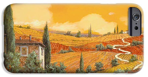 Vineyard Landscape iPhone Cases - terra di Siena iPhone Case by Guido Borelli