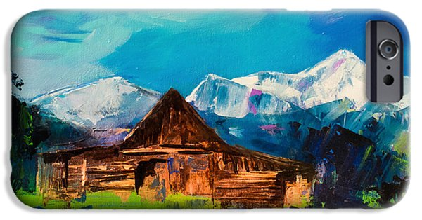 Mountain Cabin iPhone Cases - Teton Barn  iPhone Case by Elise Palmigiani