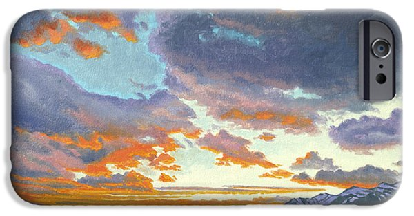 National Park Paintings iPhone Cases - Tetons-Looking South at Sunset iPhone Case by Paul Krapf