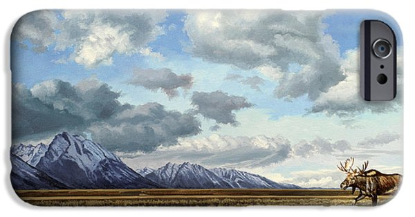 National Park Paintings iPhone Cases - Tetons-Moose iPhone Case by Paul Krapf