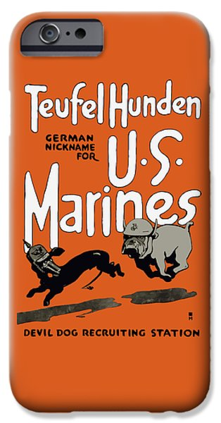 States Mixed Media iPhone Cases - Teufel Hunden - German Nickname For US Marines iPhone Case by War Is Hell Store