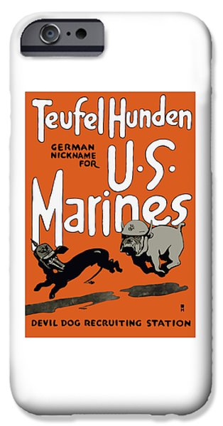 United States iPhone Cases - Teufel Hunden - German Nickname For US Marines iPhone Case by War Is Hell Store