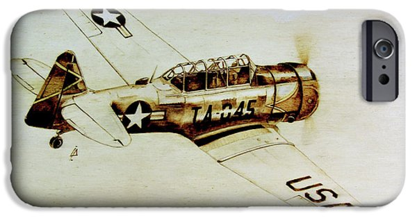 Aviation Pyrography iPhone Cases - Texan T6 iPhone Case by Ilaria Andreucci