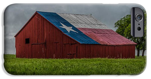 Old Barn iPhone Cases - Texas Barn Panorama iPhone Case by Jonathan Davison