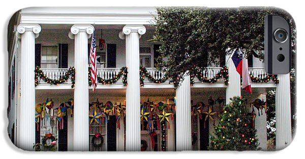 White House iPhone Cases - Texas Govenors Mansion at Christmas iPhone Case by Linda Phelps