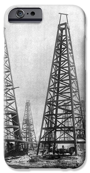 Industry iPhone Cases - TEXAS: OIL DERRICKS, c1901 iPhone Case by Granger