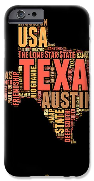 4th July Mixed Media iPhone Cases - Texas Word Cloud 1 iPhone Case by Naxart Studio