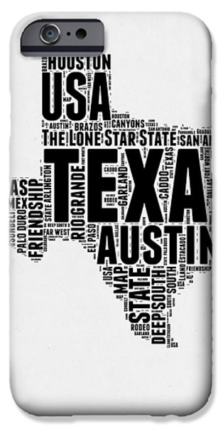 4th July Mixed Media iPhone Cases - Texas Word Cloud 2 iPhone Case by Naxart Studio