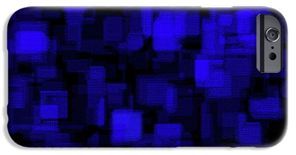 Blue Blocks iPhone Cases - Textured Abstract Blue Blocks iPhone Case by Andee Design