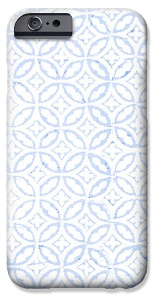 Celtic iPhone Cases - Textured Blue Diamond And Oval Pattern iPhone Case by Gillham Studios