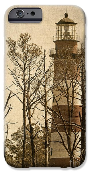 Marine iPhone Cases - Textured Light House iPhone Case by Dawn Gari