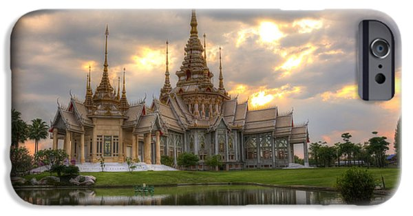 Culture Sculptures iPhone Cases - Thai Temple At Nakhonratchasima Province Thailand iPhone Case by Kriangkrai Netnangrong