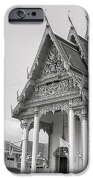 Film Pyrography iPhone Cases - Thai Temple iPhone Case by Nicholas  Allaniaris