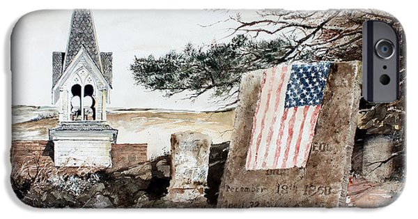 Headstones Paintings iPhone Cases - That All Men Are Created Equal iPhone Case by Monte Toon
