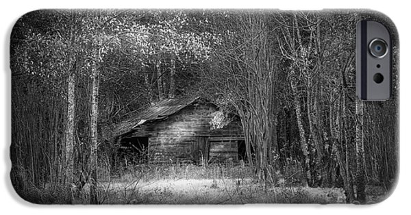 Old Fence Posts iPhone Cases - That Old Barn-bw iPhone Case by Marvin Spates