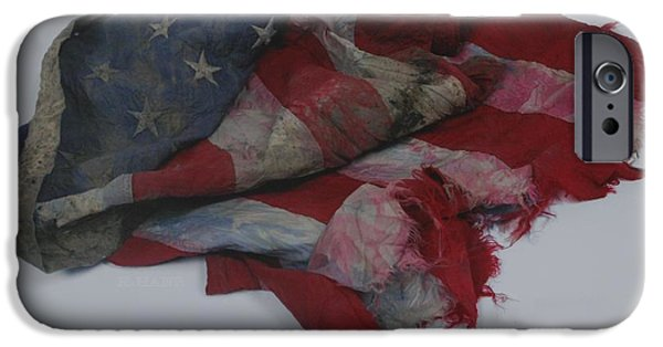 Red White And Blue Digital iPhone Cases - The 9 11 W T C Fallen Heros American Flag iPhone Case by Rob Hans