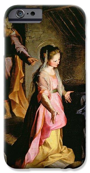 Testament iPhone Cases - The Adoration of the Child iPhone Case by Federico Fiori Barocci or Baroccio