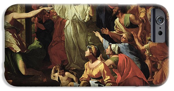 Old Testament iPhone Cases - The Adoration of the Golden Calf iPhone Case by Nicolas Poussin