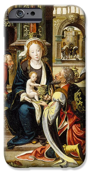 Nativity Paintings iPhone Cases - The Adoration of the Magi iPhone Case by Pieter Coecke van Aelst