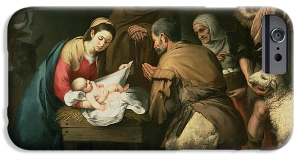 Nativity Paintings iPhone Cases - The Adoration of the Shepherds iPhone Case by Bartolome Esteban Murillo