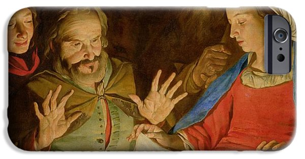 Bible Paintings iPhone Cases - The Adoration of the Shepherds iPhone Case by Matthias Stomer