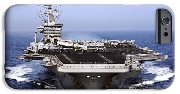 Warship iPhone Cases - The Aircraft Carrier Uss Dwight D iPhone Case by Stocktrek Images