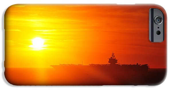 Enterprise Paintings iPhone Cases - The aircraft carrier USS Enterprise is underway iPhone Case by Celestial Images