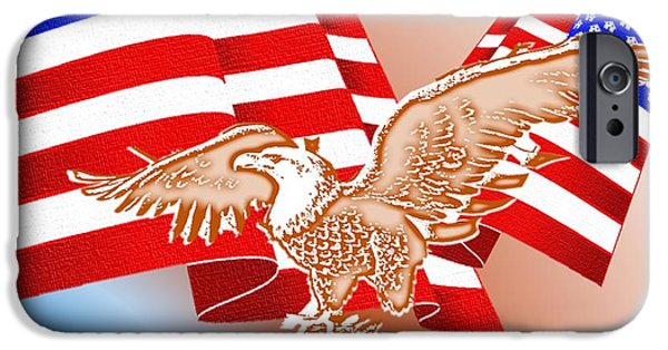 4th July Mixed Media iPhone Cases - The American Flag iPhone Case by Belinda Threeths