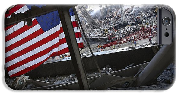 Terrorism iPhone Cases - The American Flag Is Prominent Amongst iPhone Case by Stocktrek Images