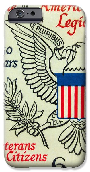 Recently Sold -  - Concept Paintings iPhone Cases - The American Legion Jubliee stamp iPhone Case by Lanjee Chee