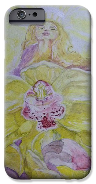 Michelle iPhone Cases - The Angel inside the Orchid iPhone Case by Michelle Reid
