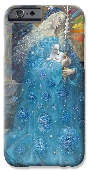 Spiritual Portrait Of Woman iPhone Cases - The Angel of Truth iPhone Case by Annael Anelia Pavlova