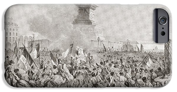 Disorder Drawings iPhone Cases - The Angry Paris Mob Burning The Royal iPhone Case by Ken Welsh