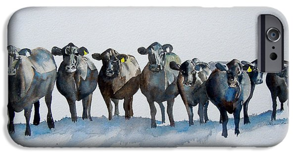 Cow Humorous iPhone Cases - The Angus Eight iPhone Case by Sharon Mick