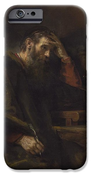 The Followers Paintings iPhone Cases - The Apostle Paul iPhone Case by Rembrandt Van Rijn