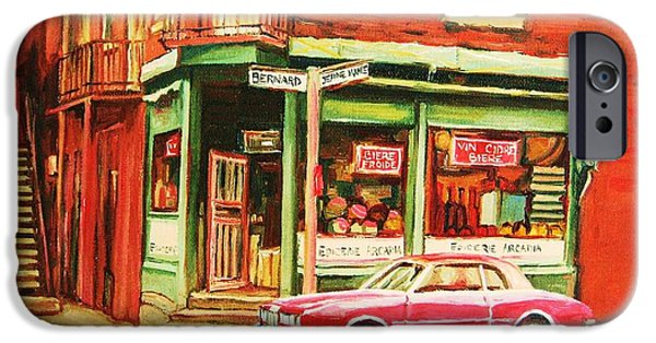Montreal Storefronts Paintings iPhone Cases - The Arcadia Five And Dime Store iPhone Case by Carole Spandau