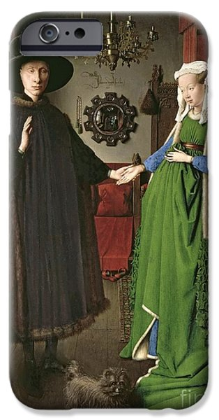 Couple Paintings iPhone Cases - The Arnolfini Marriage iPhone Case by Jan van Eyck