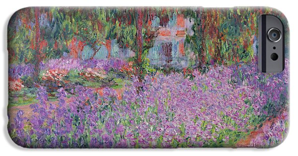 Florals Paintings iPhone Cases - The Artists Garden at Giverny iPhone Case by Claude Monet