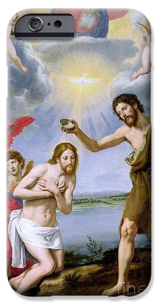 River Jordan Paintings iPhone Cases - The Baptism of Christ iPhone Case by Ottavio Vannini