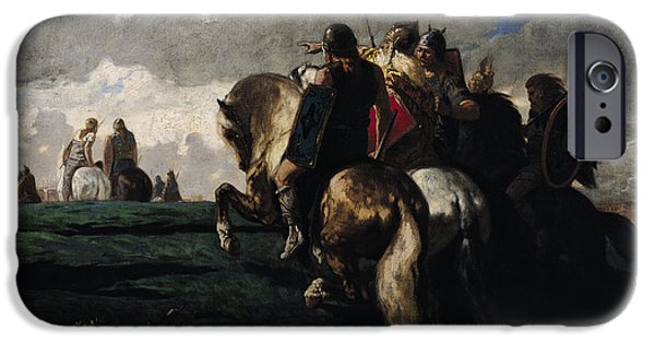 Fall Scenes iPhone Cases - The Barbarians Before Rome iPhone Case by Evariste Vital  Luminais