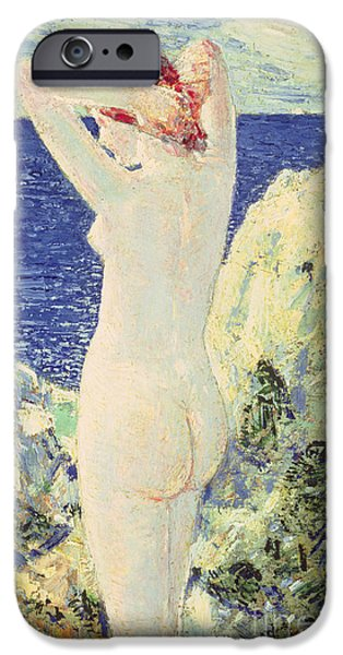 Childe iPhone Cases - The Bather iPhone Case by Childe Hassam