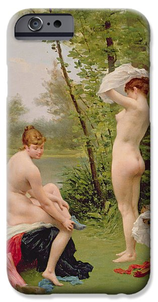 Lesbian Paintings iPhone Cases - The Bathers iPhone Case by Jules Scalbert